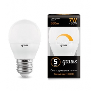 Диммируемая лампа Gauss LED GLOBE-dim